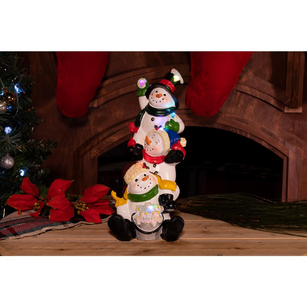 Alpine 13 In 3 Snowmen Statuary With Color Changing Led Lights
