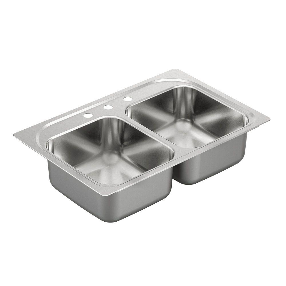 moen stainless steel kitchen sinks moen 2200 series drop in stainless steel 33 in 3 9286