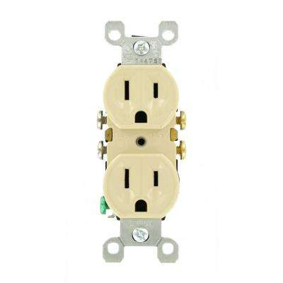 15 Amp Residential Grade Grounding Duplex Outlet, Ivory