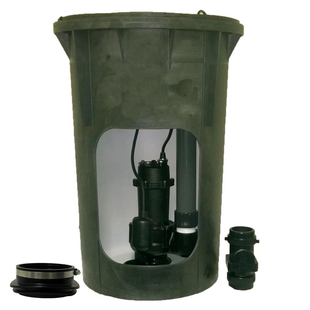 Everbilt 1 2 hp submersible pre plumbed sewage basin for 1 bathroom septic system
