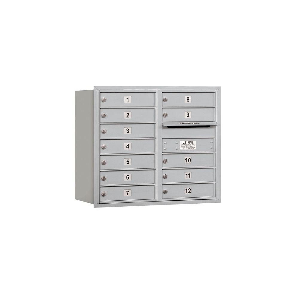 Salsbury Industries 3700 Series 27 in. 7 Door High Unit Aluminum Private Rear Loading 4C Horizontal Mailbox with Double Column 12 MB1 Doors