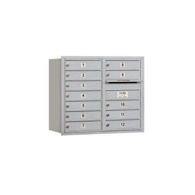 3700 Series 27 in. 7 Door High Unit Aluminum Private Rear Loading 4C Horizontal Mailbox with Double Column 12 MB1 Doors