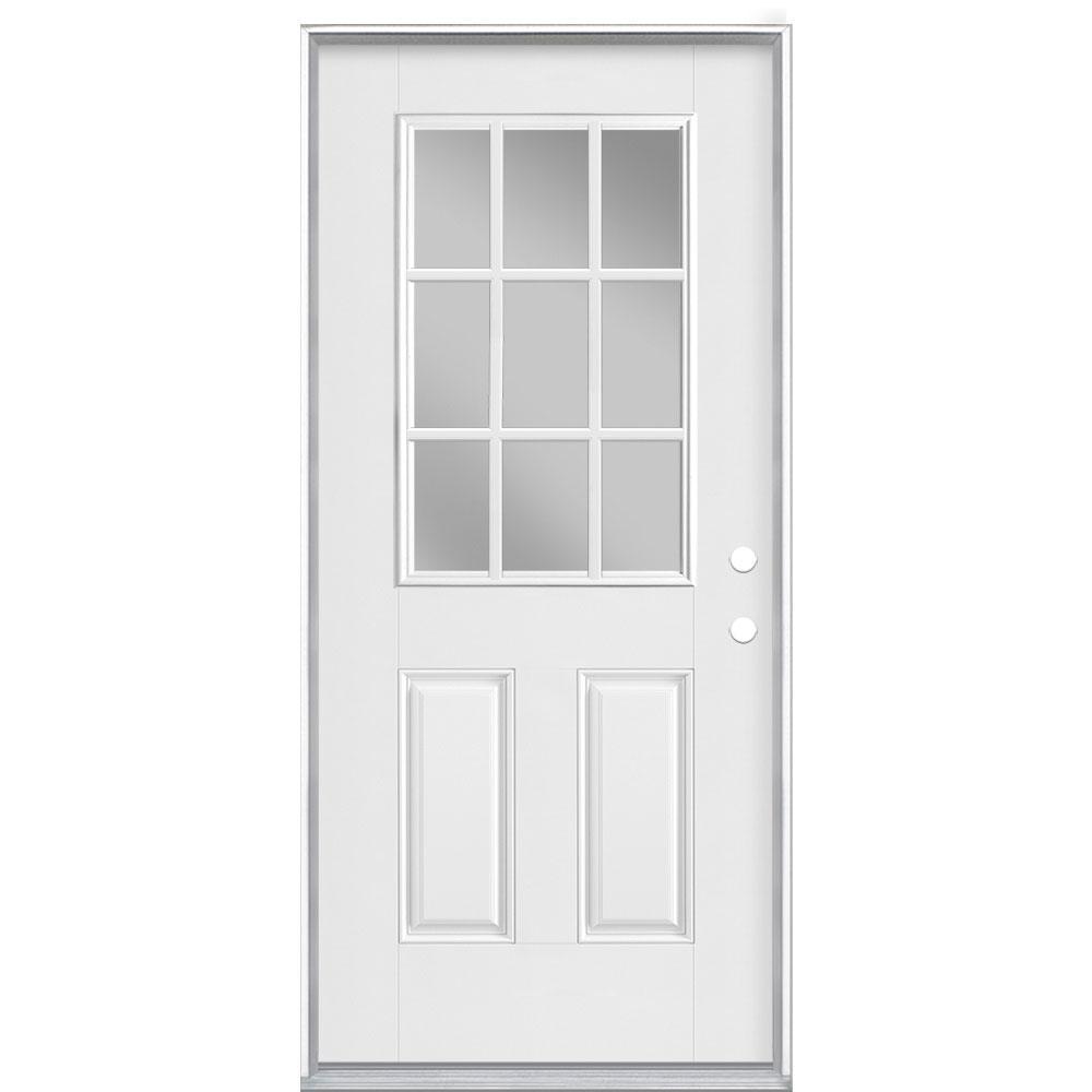 36 in. x 80 in. 9 Lite Left Hand Inswing Primed White Smooth Fiberglass Prehung Front Exterior Door, Vinyl Frame