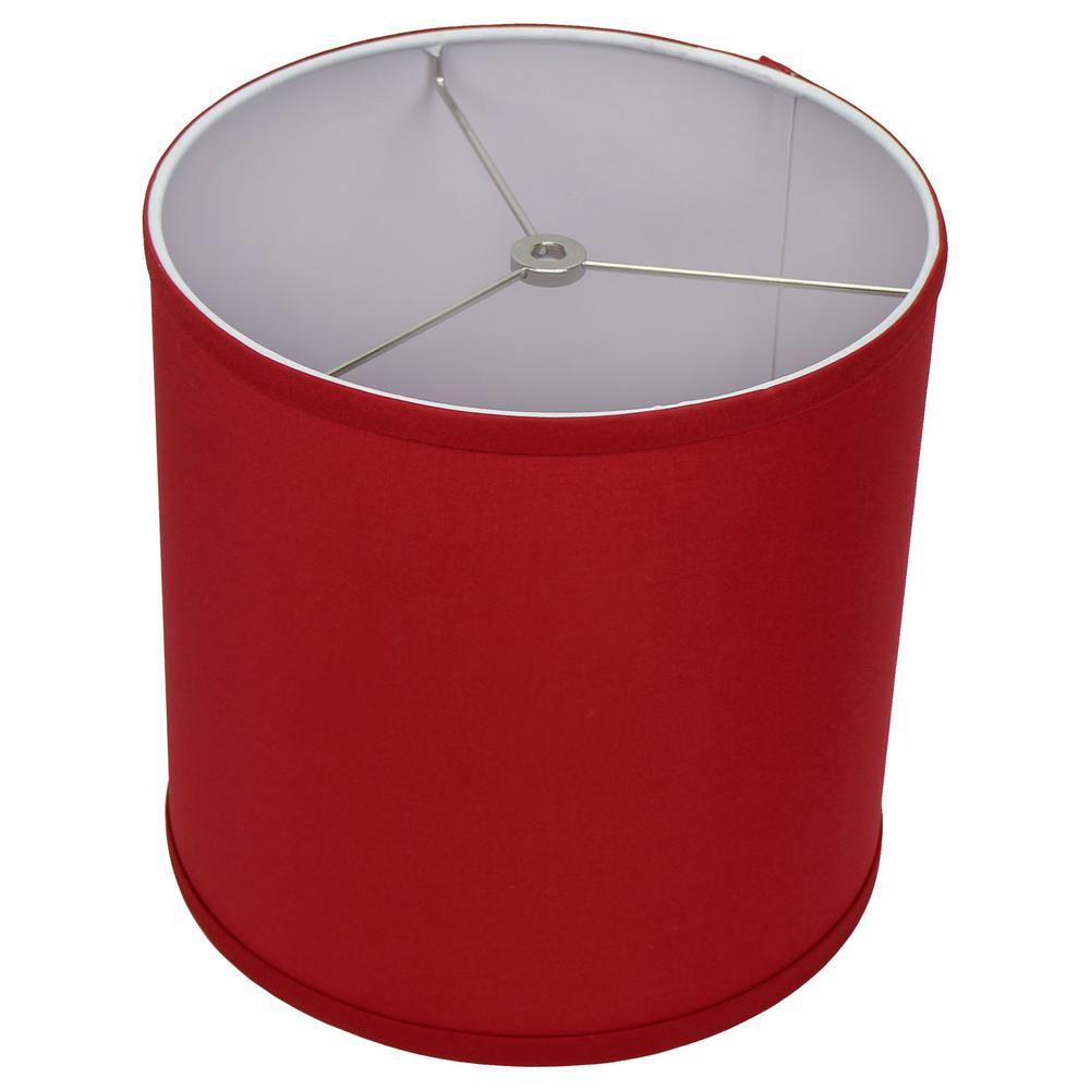 10 in. Top Diameter x 10 in. H x 10 in. Bottom Diameter Linen Rich Red Drum Lamp Shade