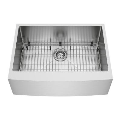 Bedford Stainless Steel 30 in. Single Bowl Farmhouse Apron-Front Kitchen Sink with Strainer and Stainless Steel Grid