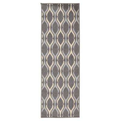 anne collection moroccan trellis design gray and ivory 1 ft 8in x 4 ft 11in nonskid runner rug