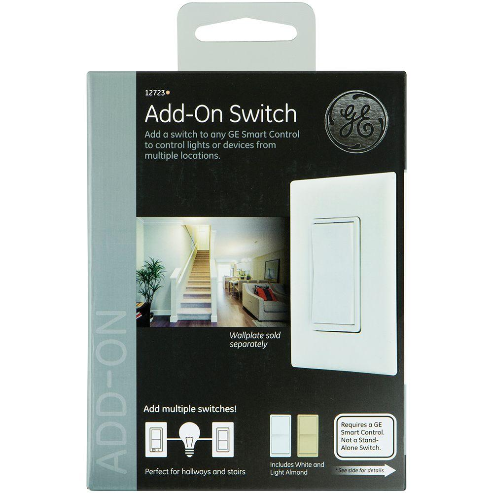 Home Automation 120 VAC 3Way Auxiliary AddOn Switch AlmondWhite