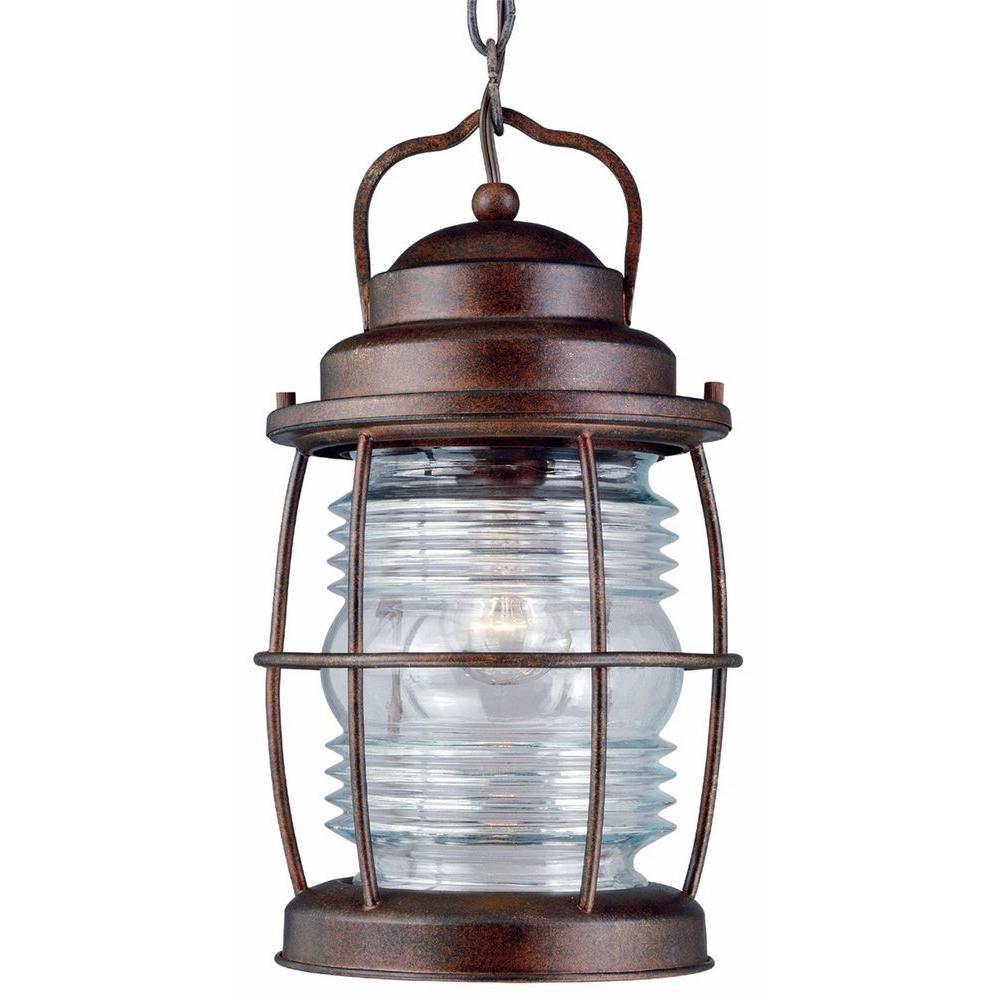 Beacon 13 in. 1-Light Gilded Copper Hanging Lantern