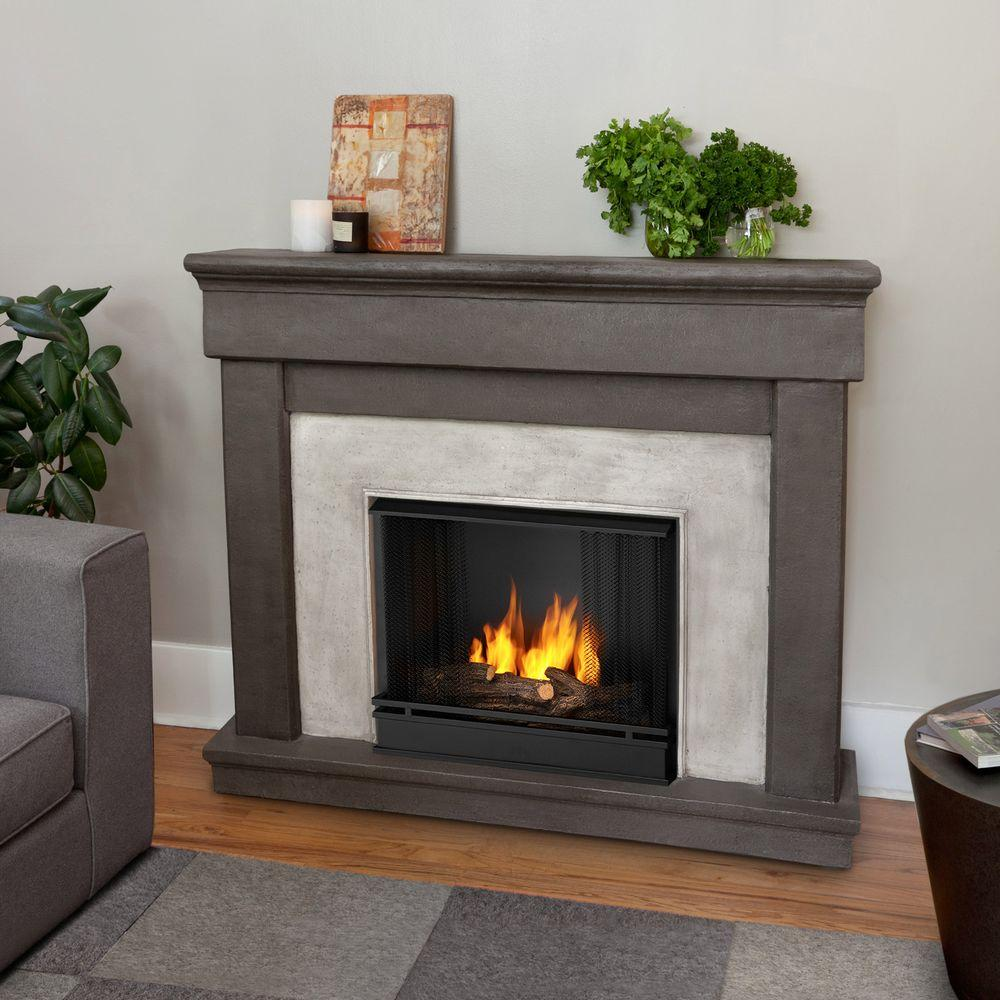 Real Flame Cascade 50 in. Cast Ventless Gel Fuel Fireplace in Dune Stone