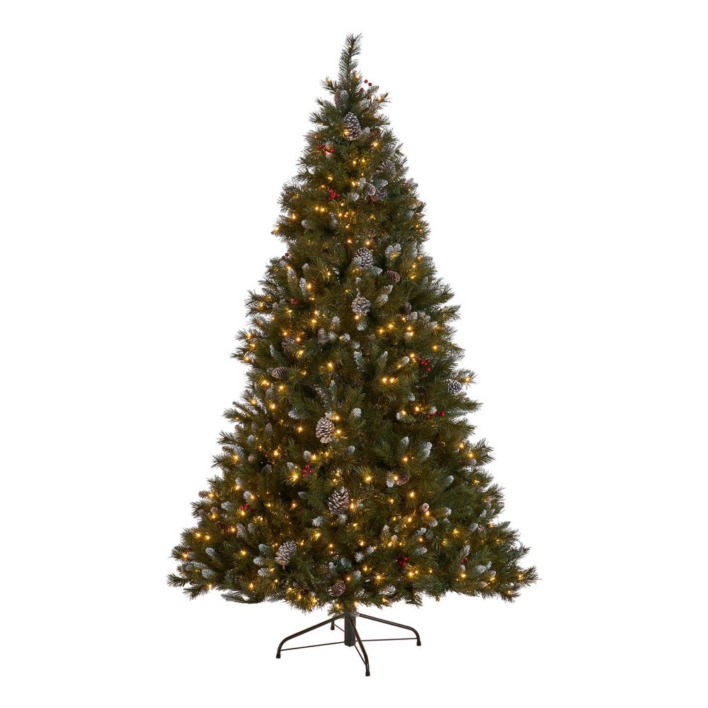 Artificial Christmas Tree Branches.Noble House 7 Ft Pre Lit Mixed Spruce Hinged Artificial Christmas Tree With Clear Lights Frosted Branches Berries And Pinecones