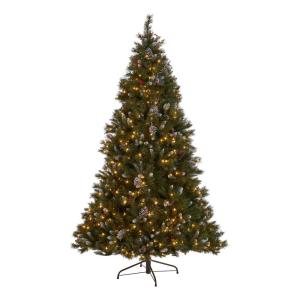 7 ft. Pre-Lit Mixed Spruce Hinged Artificial Christmas Tree with Clear Lights, Frosted Branches, Berries and Pinecones
