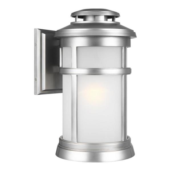 Newport 1-Light Painted Brushed Steel Outdoor 15.875 in. Wall Lantern Sconce