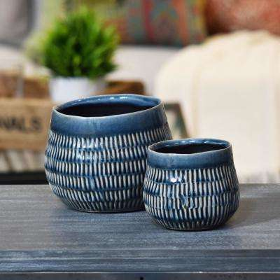 Blue Gloss Ceramic Decorative Vase