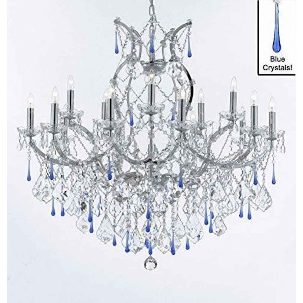 Harrison Lane Maria Theresa 16 Light Chrome Crystal Chandelier With Blue Crystals