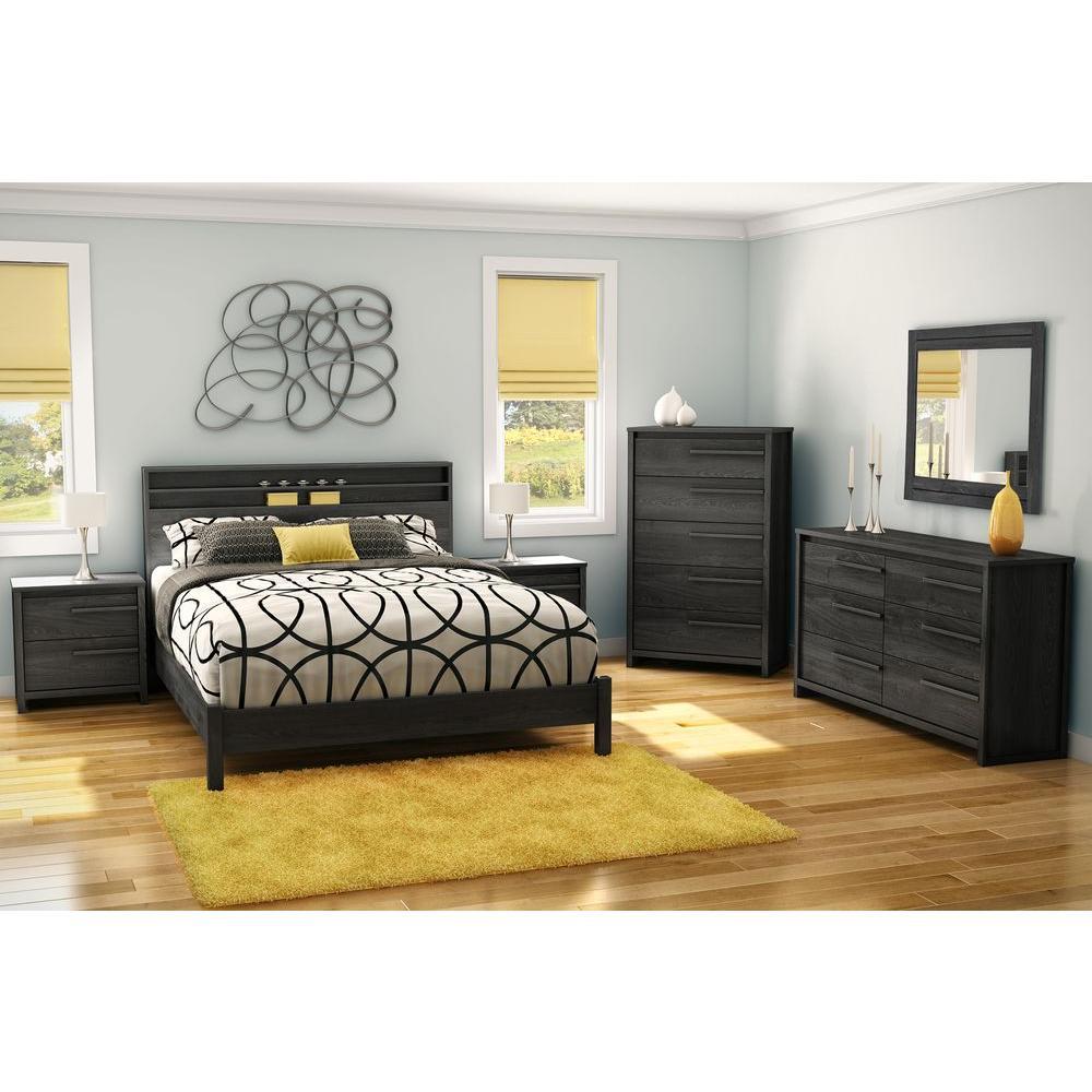 South shore tao 2 drawer gray oak nightstand