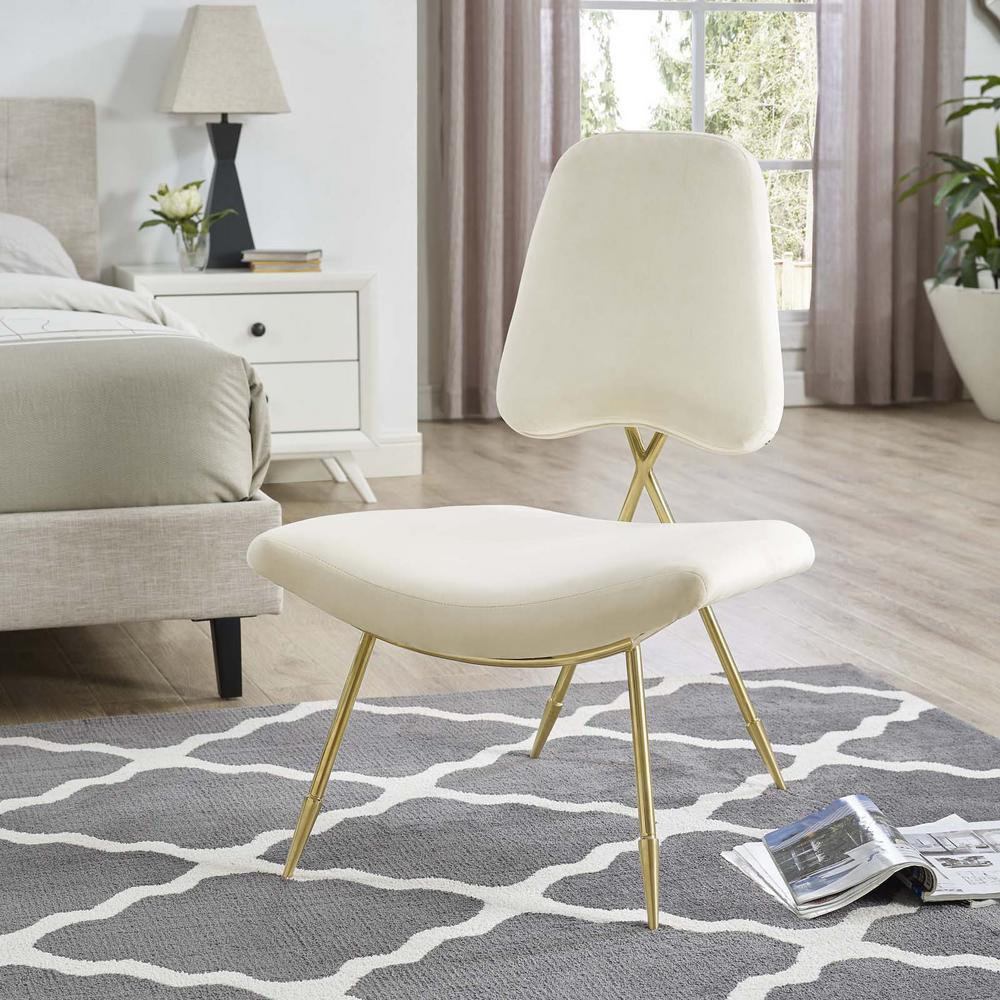 Ponder Upholstered Velvet Lounge Chair in Ivory