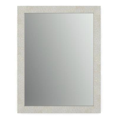 23 in. x 33 in. (S2) Rectangular Standard Glass Bathroom Mirror with Stone Mosaic Frame and Flush Mount Hardware