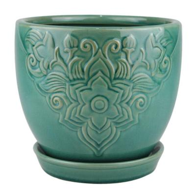 8 in. Teal Florelle Kurv Ceramic Planter