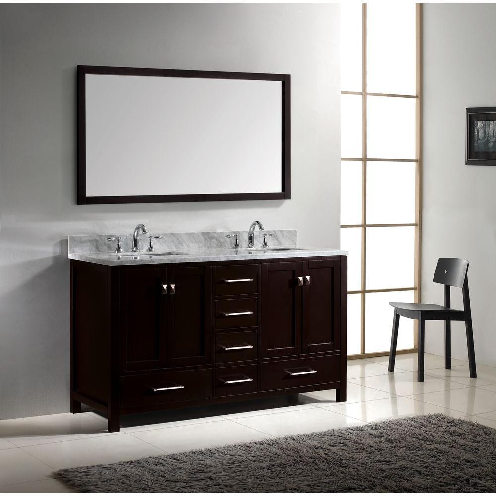 Virtu Usa Caroline Avenue 60 In W Bath Vanity Espresso With Marble Top White Square Basin And Mirror