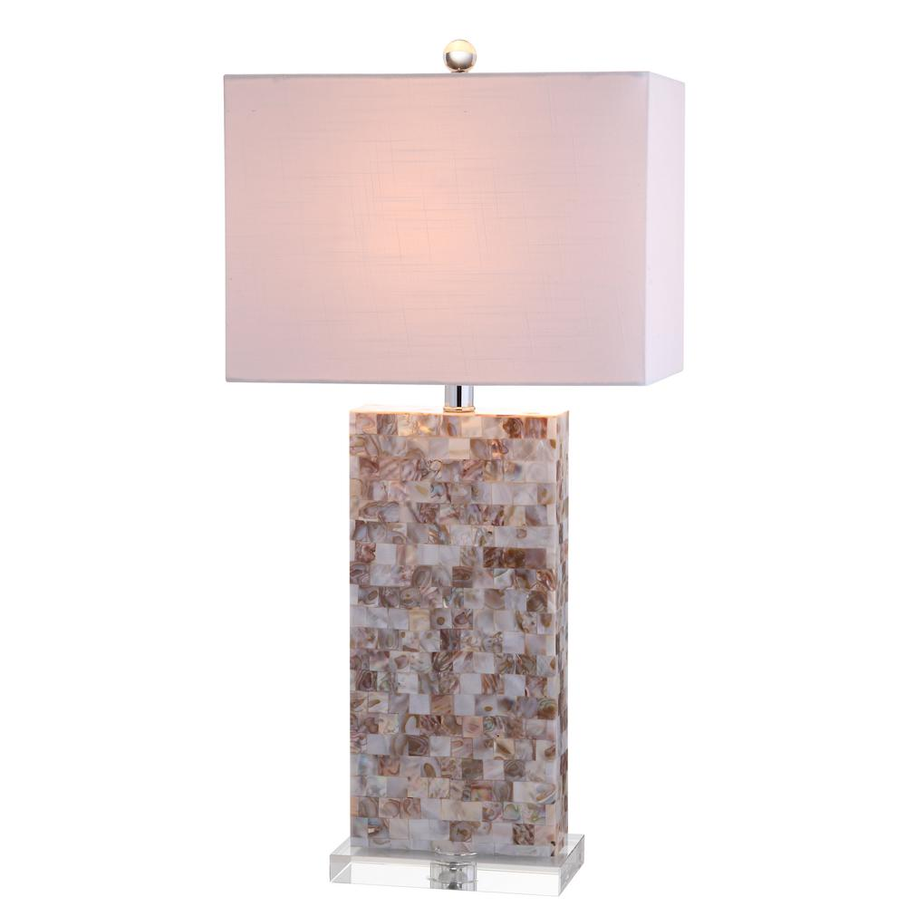 JONATHAN Y Cannon 29 in. Natural/Clear Seashell and Crystal Table Lamp