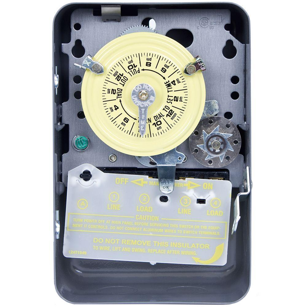 Intermatic T170 Series 40 Amp 24 Hour Mechanical Time Switch With Wiring Rotary Switches Skipper And Indoor Enclosure