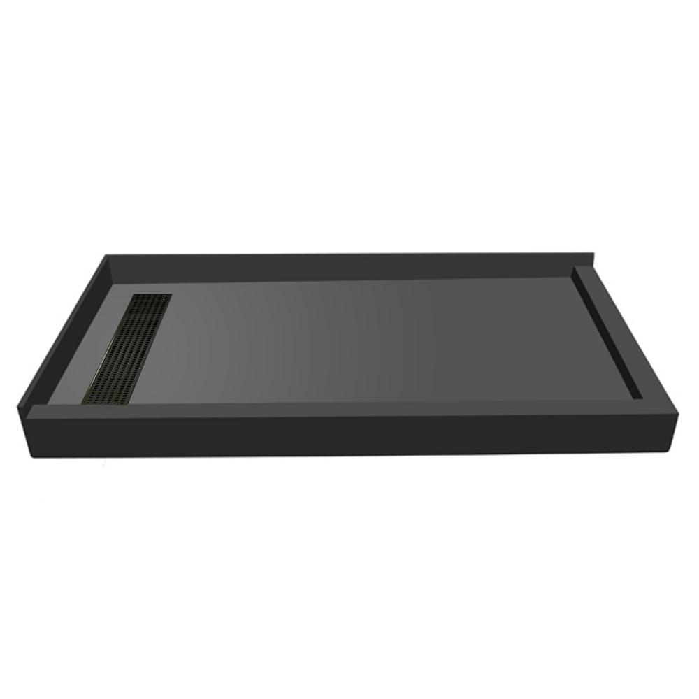 34 in. x 60 in. Double Threshold Shower Base in Gray