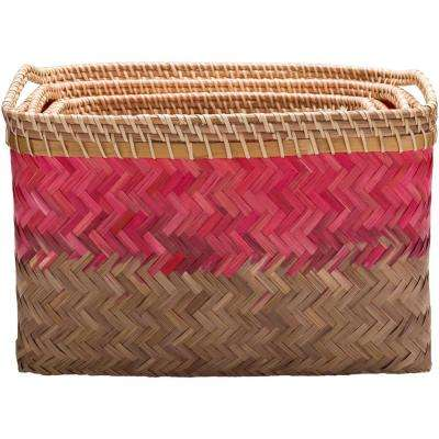 Ivoro Bright Pink Bamboo 12.2 in. x 9.8 in., 15 in. x 10.6 in., 17.7 in. x 11.8 in. 3-Piece Basket Set
