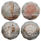 Coastal View 9 in. Multi-Colored Salad Plate (Set of 4)