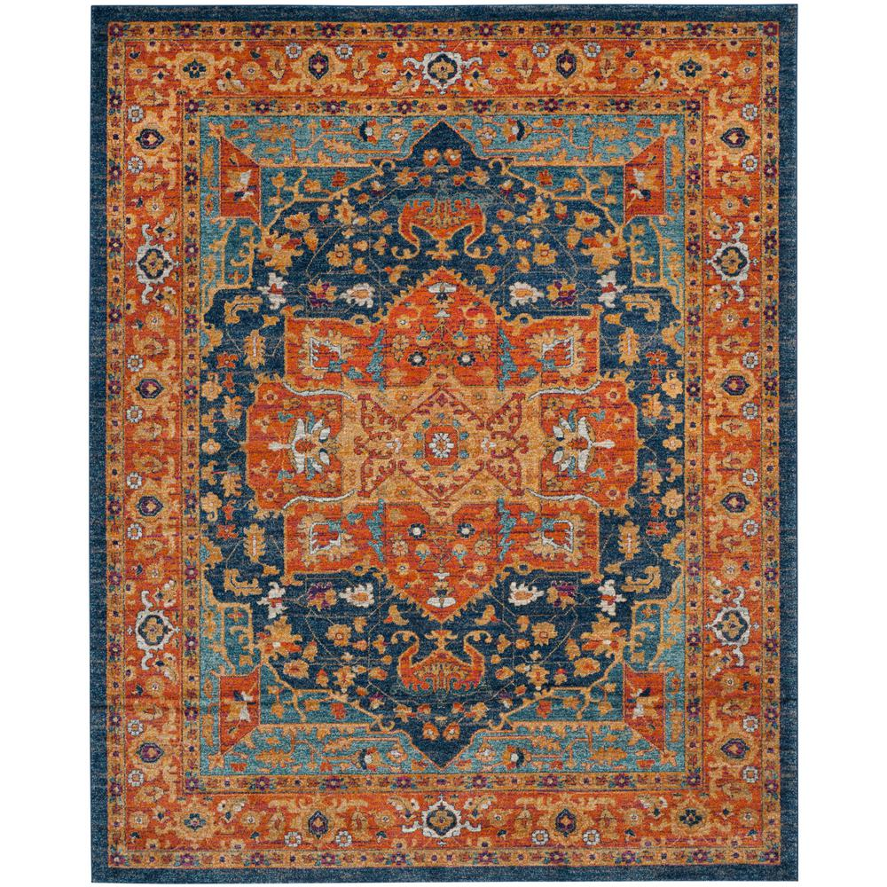 Safavieh Evoke Blue Orange 8 Ft X 10 Ft Area Rug Evk275c
