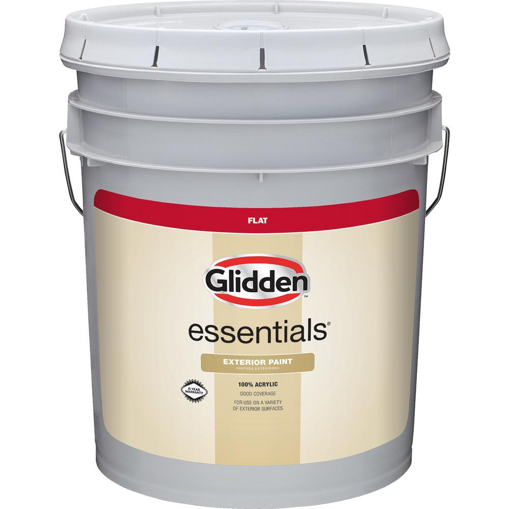 Exterior Paint Colors Home Depot: Glidden Essentials 5 Gal. Base 3 Flat Exterior Paint-GLE