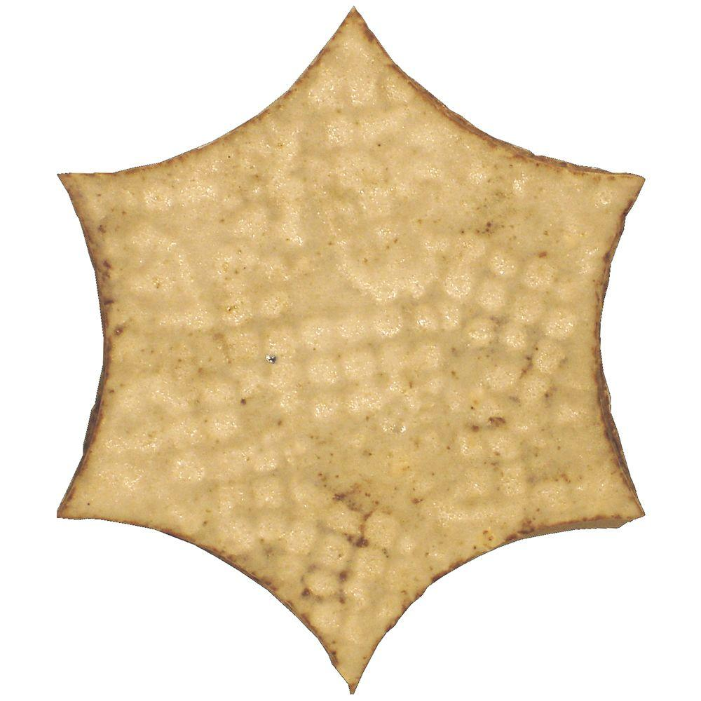 Merola Tile Cometa Brina White 4 in. x 4 in. Terra Cotta Medallion Tile