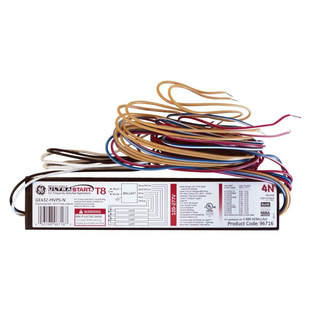 GE 120 to 277-Volt Electronic Program Start Ballast for 4 ft. 4-Lamp  Bulb Ballast Wiring Diagram For Tree Bulbs on 4 pin ballast wiring diagram, two lamp ballast wire diagram, ballast replacement diagram, 4 bulb ballast wiring two, fluorescent fixtures t5 circuit diagram, 2 bulb ballast wiring diagram,