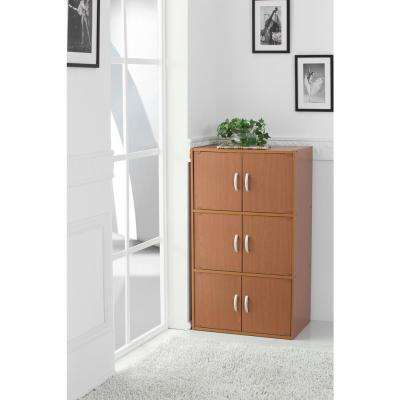 3-Shelf, 41 in. H Cherry Bookcase with Double Doors