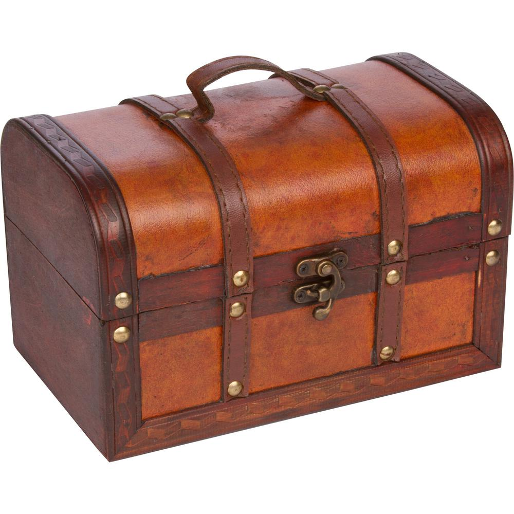Trademark innovations small wood and leather decorative chest chest trademark innovations small wood and leather decorative chest publicscrutiny Image collections
