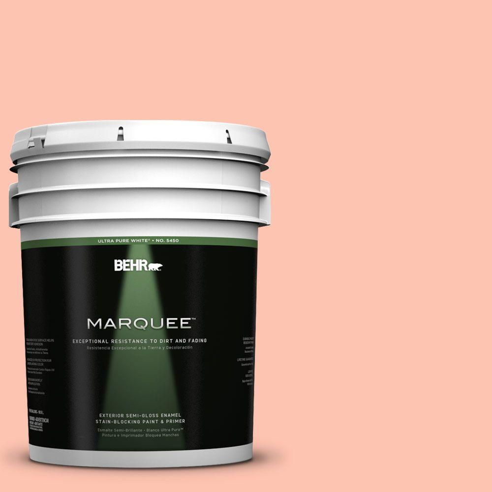 BEHR MARQUEE 5-gal. #210A-3 Malibu Peach Semi-Gloss Enamel Exterior Paint