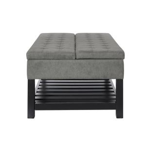 Miraculous Lifestyle Solutions Joliet Grey Solid Wood Tufted Coffee Caraccident5 Cool Chair Designs And Ideas Caraccident5Info