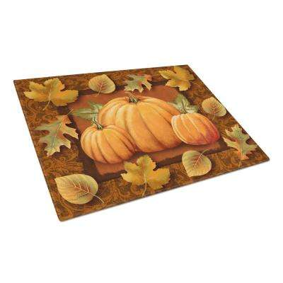 Pumpkins and Fall Leaves Tempered Glass Large Cutting Board