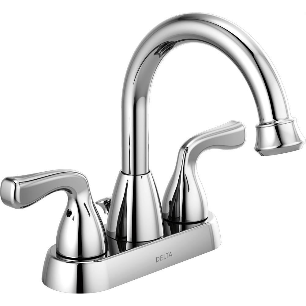 Delta Bathroom Faucets.Delta Foundations 4 In Centerset 2 Handle Hi Arc Bathroom Faucet