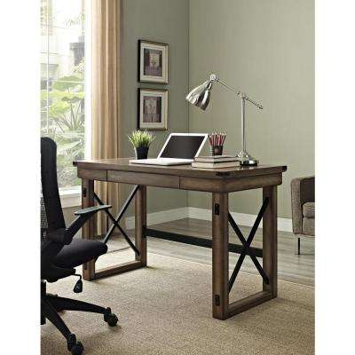 Wildwood Rustic Gray Desk with Storage