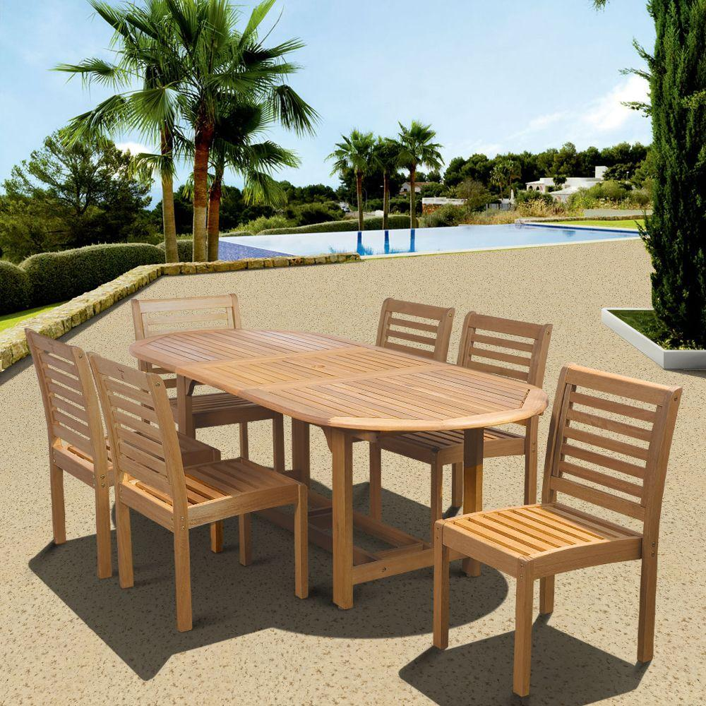 Amazonia Eucalyptus 7-Piece Armless Oval Extendable Patio Dining Set