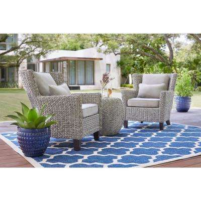 Megan Grey 3-Piece Wicker Outdoor Patio Bistro Set with Grey Cushion