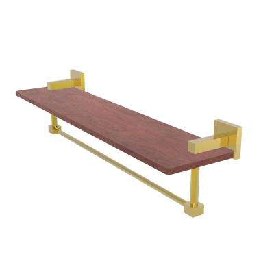 Montero Collection 22 in. Solid IPE Ironwood Shelf with Integrated Towel Bar in Polished Brass