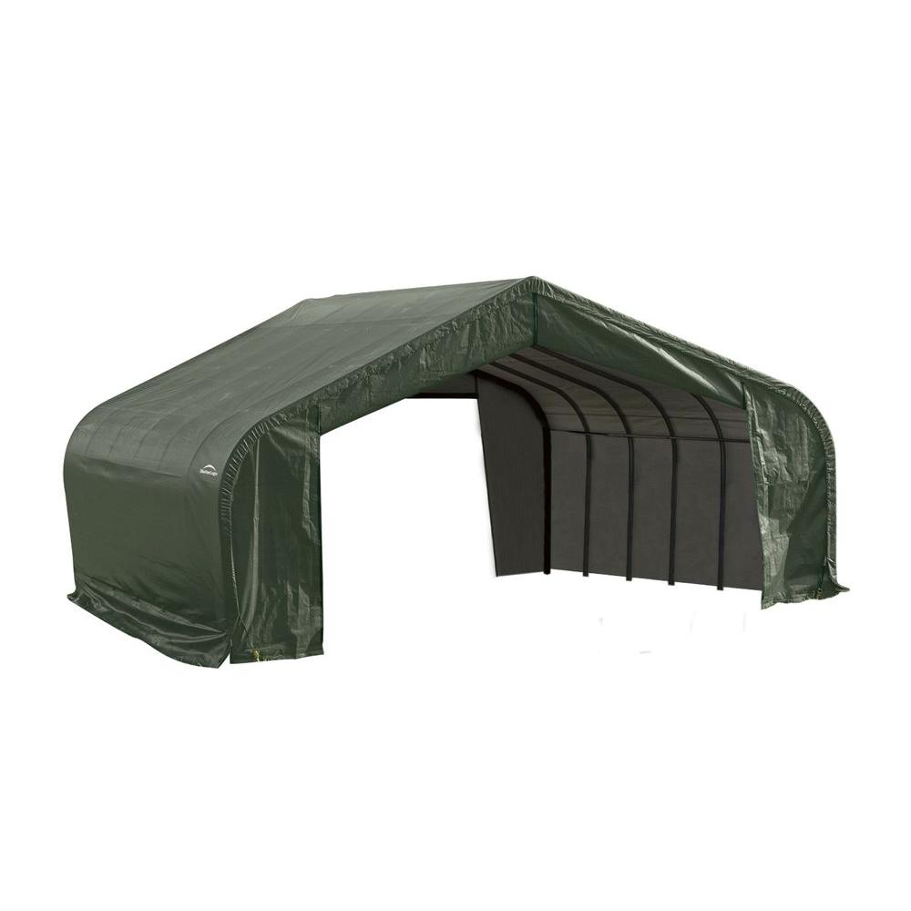 ShelterLogic 22 ft. x 24 ft. x 13 ft. Green Steel and Pol...