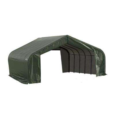 22 ft. x 24 ft. x 13 ft. Green Steel and Polyethylene Garage Without Floor