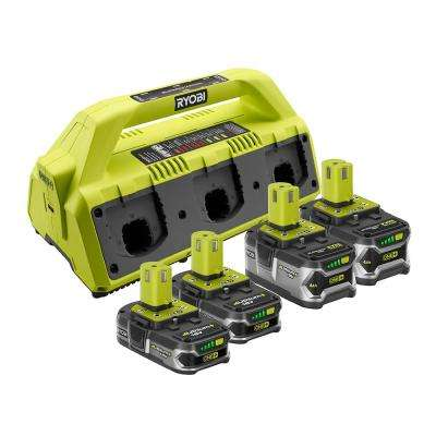 18-Volt ONE+ 6-Port Dual Chemistry Super Charger and 4-Pack Lithium-Ion Batteries Kit (2 x 4.0Ah and 2 x 1.5Ah Lithium+)