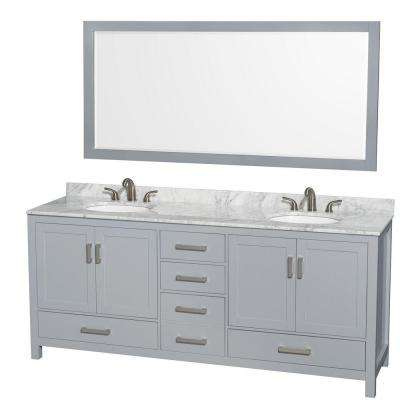 Sheffield 80 in. W x 22 in. D Vanity in Gray with Marble Vanity Top in Carrara White with White Basins and 70 in. Mirror