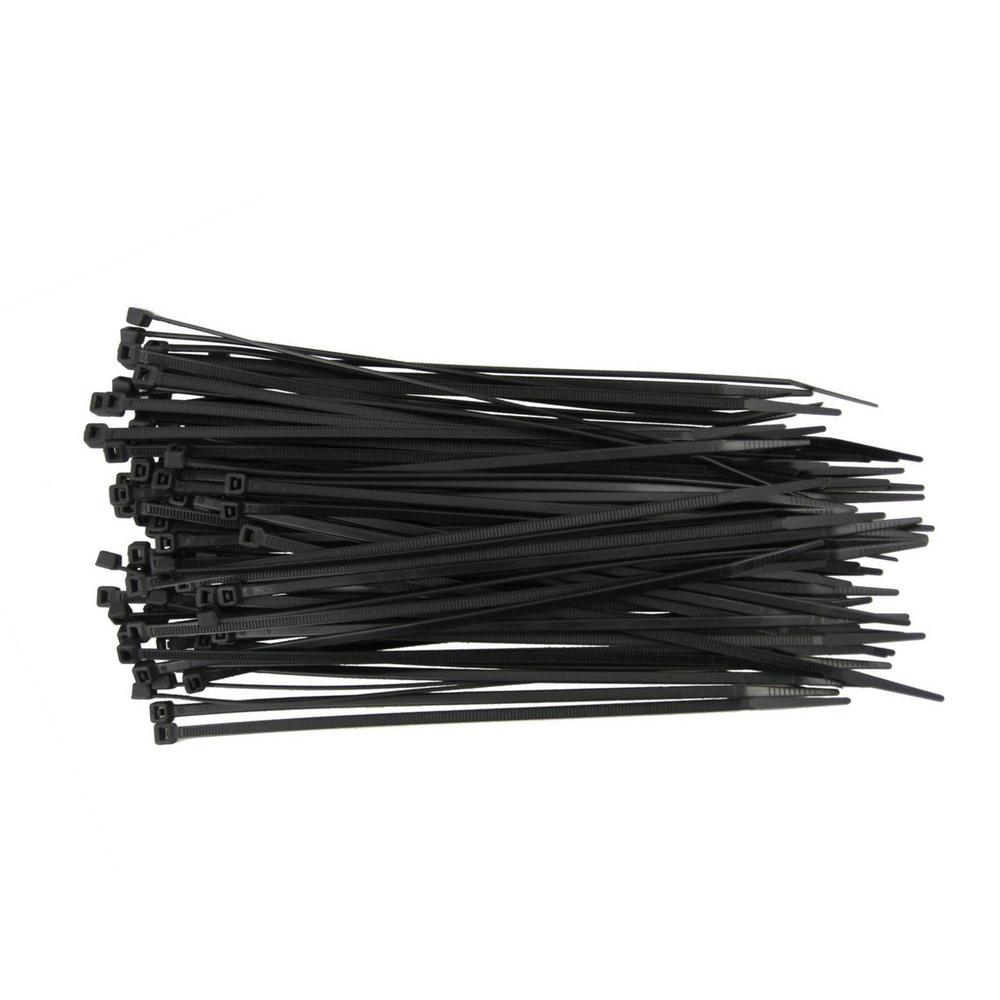 Self-Locking Cable Ties, 14 in., Black, (100-Pieces), Poly Bag