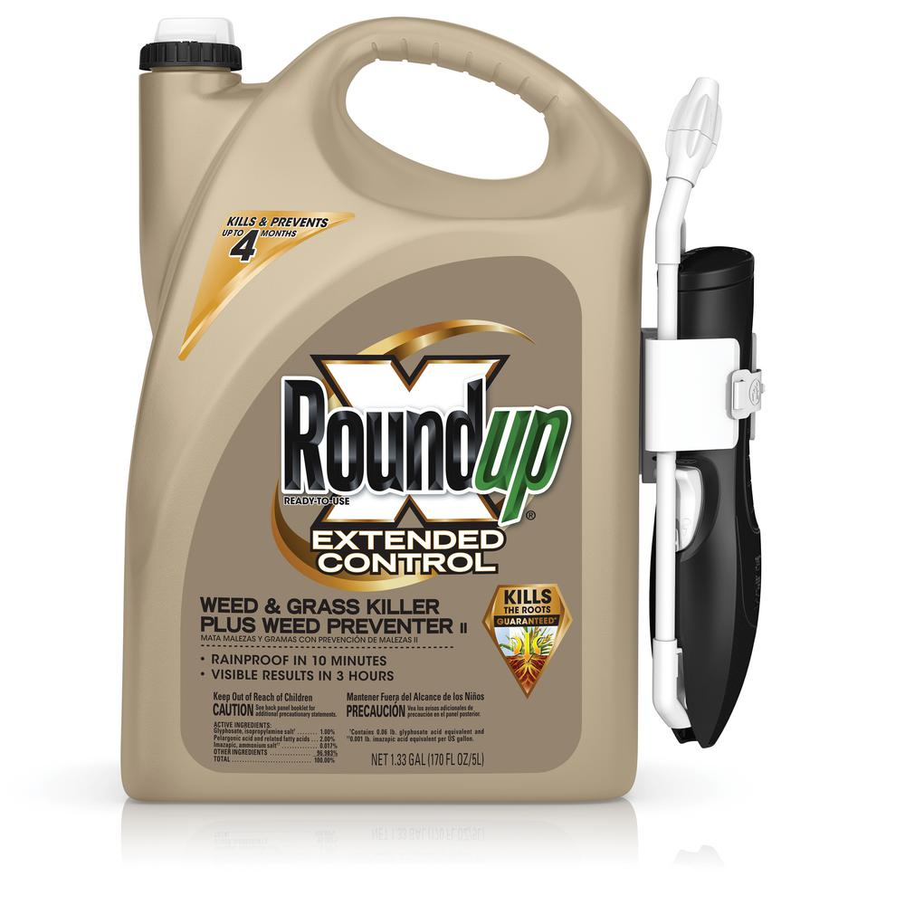 Roundup 1.33 Gal. Ready-to-Use Extended Control Weed and Grass Killer Plus Weed Preventer Comfort Wand