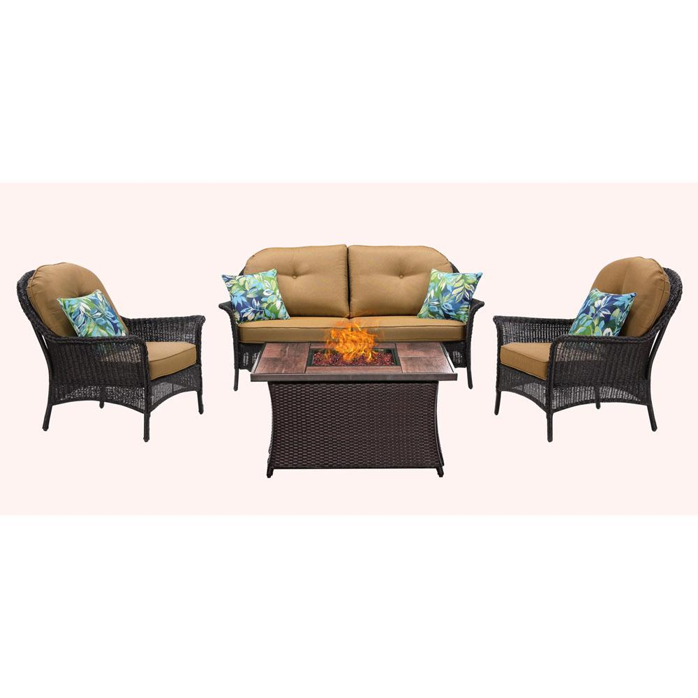 Metal Seating Set Wood Grain Top Fire Pit Country Cork Cushions