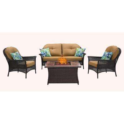 San Marino 4-Piece Metal Patio Seating Set Wood Grain-Top Fire Pit with Country Cork Cushions